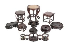 COLLECTION OF TEN HARDWOOD STANDS, QING DYNASTY