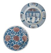 TWO COPPER-RED AND UNDERGLAZE BLUE DISHES