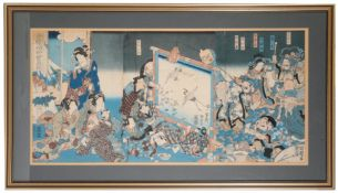 TWO FRAMED JAPANESE WOODBLOCK PRINTS, EDO PERIOD