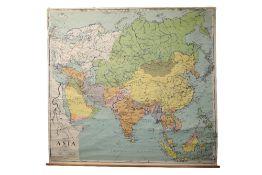 LARGE SCHOOL MAP OF ASIA, CIRCA 1962