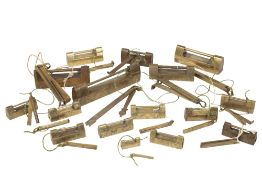 FOURTEEN ASSORTED BRASS LOCKS, 19TH CENTURY AND LATER