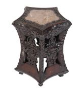 CARVED CHINESE 'PENTAGON' SHAPED STAND, QING DYNASTY, 19TH CENTURY