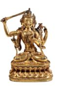 GILT BRONZE FIGURE OF SHADAKSHARI LOKESHVARA, YIGE DRUGMA