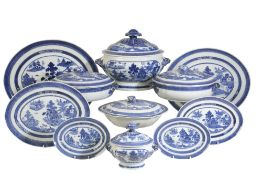 CHINESE EXPORT 'LANDSCAPE' BLUE AND WHITE DINNER SERVICE, QIANLONG PEIROD