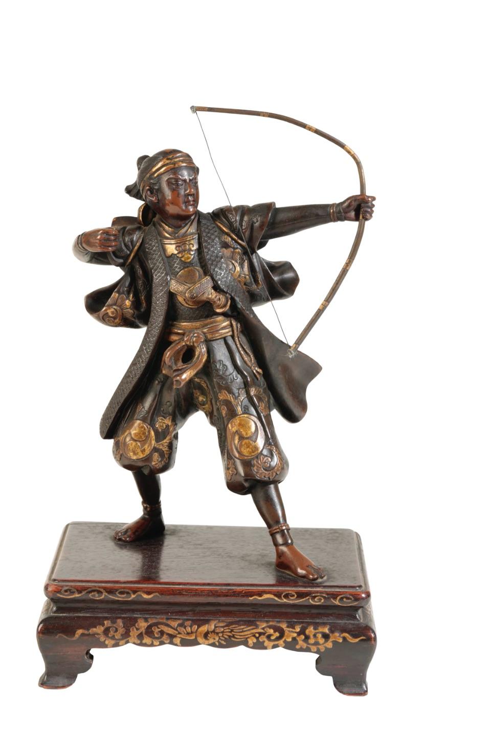FINE JAPANESE MIXED METAL BRONZE FIGURE OF AN ARCHER, BY MIYAO EISUKE, MEIJI PERIOD