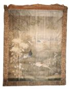 LARGE JAPANESE SILK EMBROIDERED PANEL, LATE EDO / MEIJI PERIOD