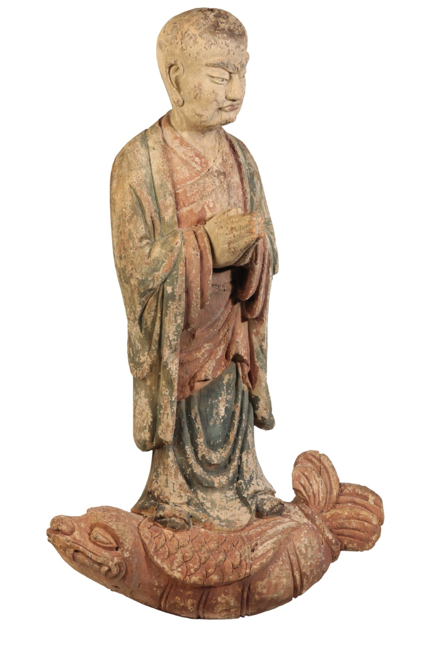 CARVED AND POLYCHROME PAINTED WOOD FIGURE, MING OR LATER
