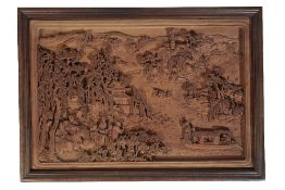 CHINESE CARVED BOXWOOD PANEL, 20TH CENTURY