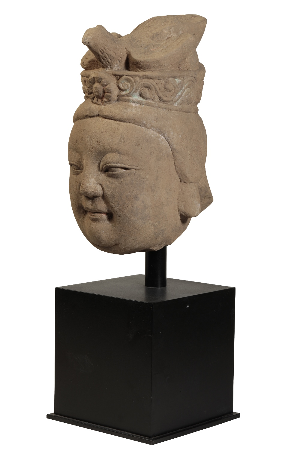 CARVED STONE BODHISATVA HEAD, MING OR LATER