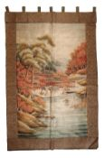 JAPANESE SILK EMBROIDERED WALL HANGING, MEIJI PERIOD