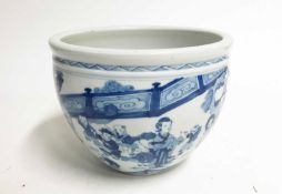 BLUE AND WHITE TRANSITIONAL STYLE JARDINIERE, 20TH CENTURY