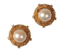 A PAIR OF PEARL AND DIAMOND EAR STUDS