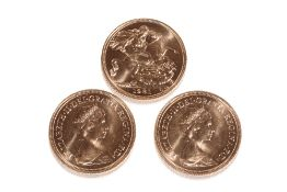 THREE 1981 QUEEN ELIZABETH II GOLD SOVEREIGNS