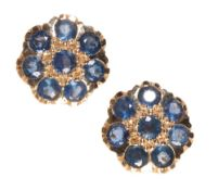 A PAIR OF SAPPHIRE CLUSTER EARRINGS