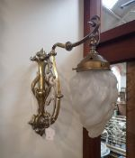 A BRASS AND NICKEL PLATED ART NOUVEAU ELECTRIC WALL LIGHT