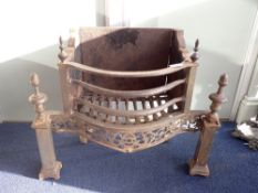 AN 18TH CENTURY STYLE IRON FIRE GRATE
