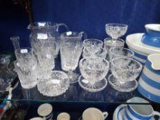 A PART SUITE OF CUT GLASSWARE