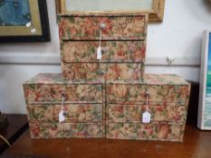 THREE FABRIC-COVERED THREE-DRAWER BOUDOIR BOXES