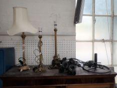 THREE GILT TABLE LAMPS