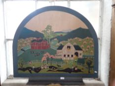AN AMERICAN FOLKART STYLE PAINTED PANEL