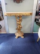 A GILTWOOD CONSOLE TABLE BASE