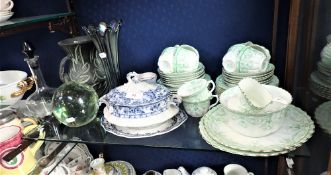AN EDWARDIAN ROYAL ALBERT GREEN AND GILT TEA SET