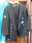 A VINTAGE TWO PIECE BLACK NAVAL UNIFORM