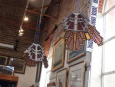 A LARGE PAIR OF STAINED GLASS TIFFANY STYLE GLASS LEADED SHADES