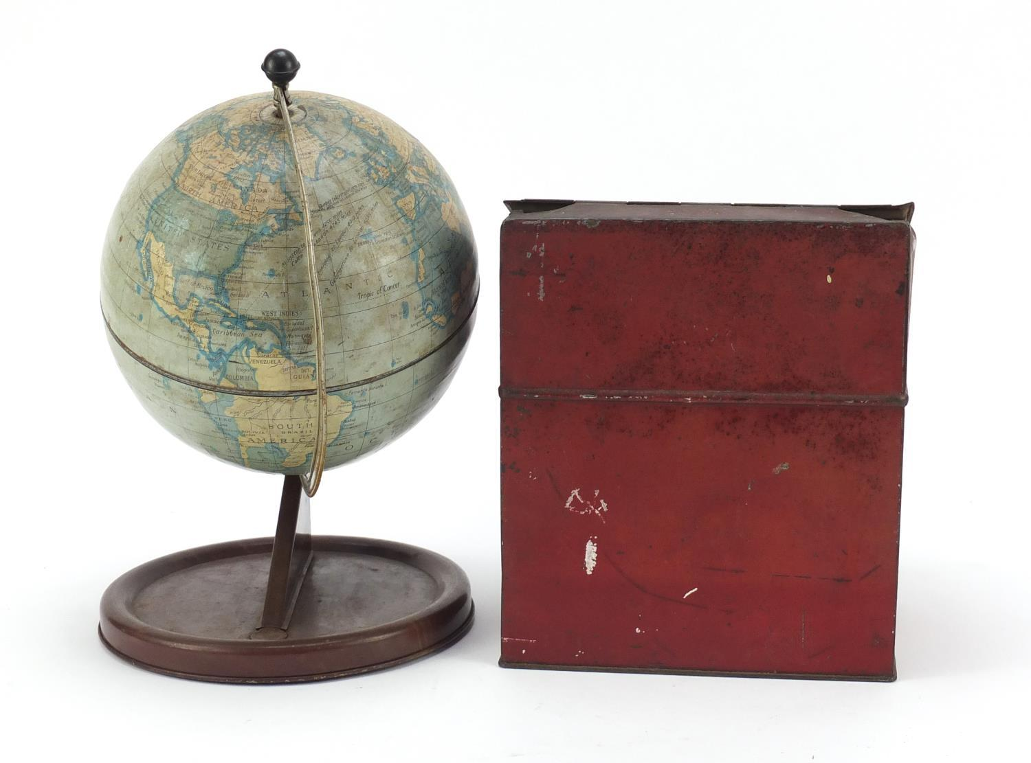Vintage Chad Valley tin globe and Williams toffee tin in the form of a knife box, the largest 28cm - Image 6 of 10