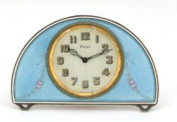 Continental silver and blue guilloche enamel eight day strut clock, the clock impressed S Child &