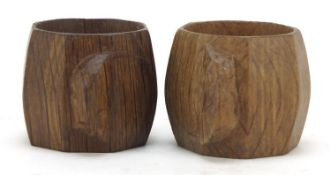Robert Mouseman Thompson pair of octagonal adzed oak napkin rings, each carved with a signature
