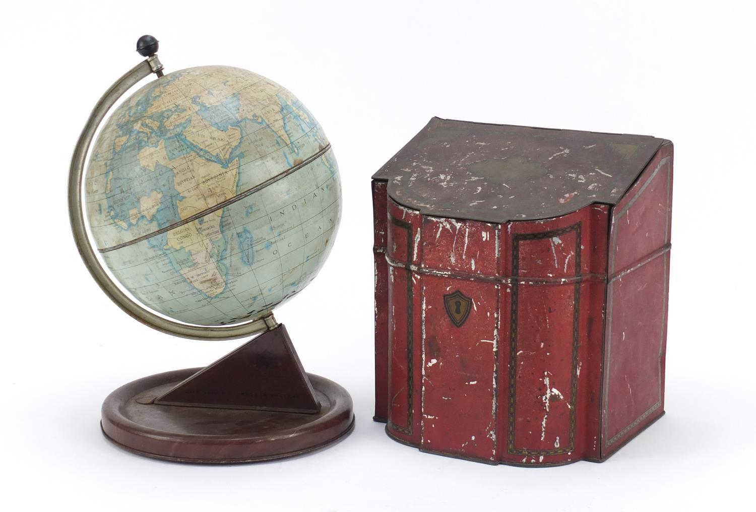 Vintage Chad Valley tin globe and Williams toffee tin in the form of a knife box, the largest 28cm