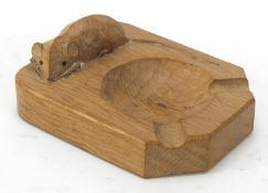 Robert Mouseman Thompson adzed oak ashtray carved with a signature mouse, 10cm wide : For Further