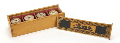 Early Georgian Tunbridgeware whitewood cotton reel box painted with a cottage and trees, 17cm wide :