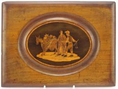 Italian Sorrento ware panel inlaid with a donkey and two peasants, 23cm x 17cm : For Further
