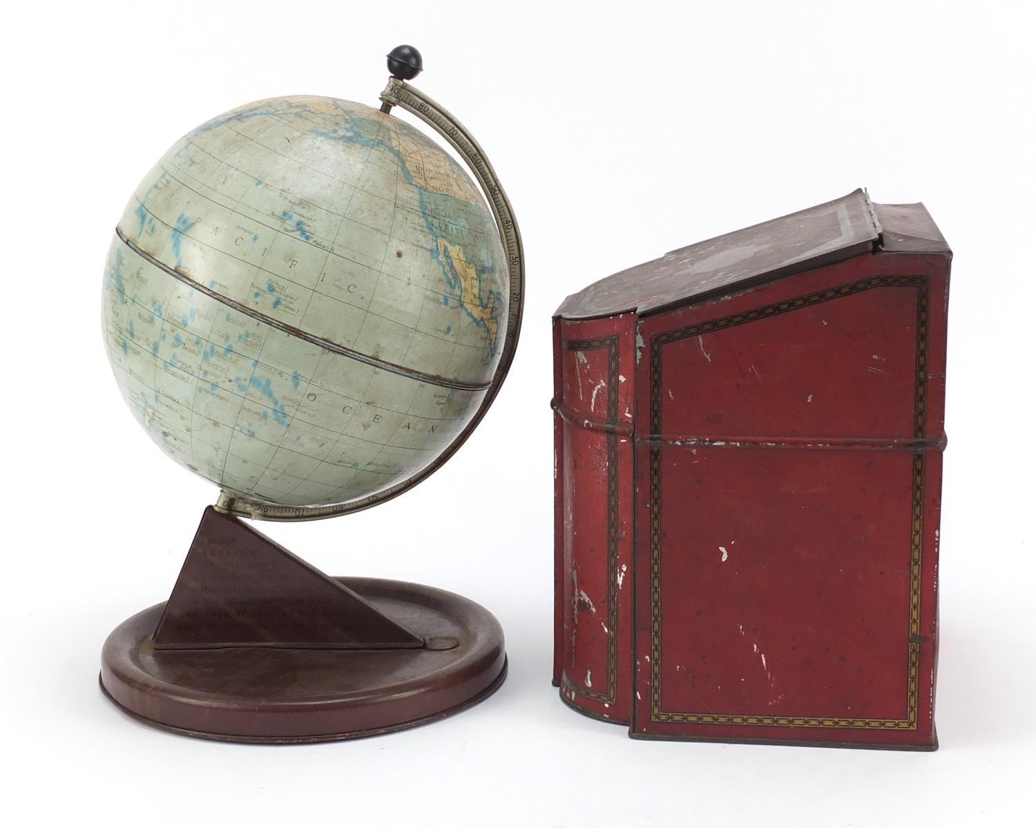 Vintage Chad Valley tin globe and Williams toffee tin in the form of a knife box, the largest 28cm - Image 4 of 10