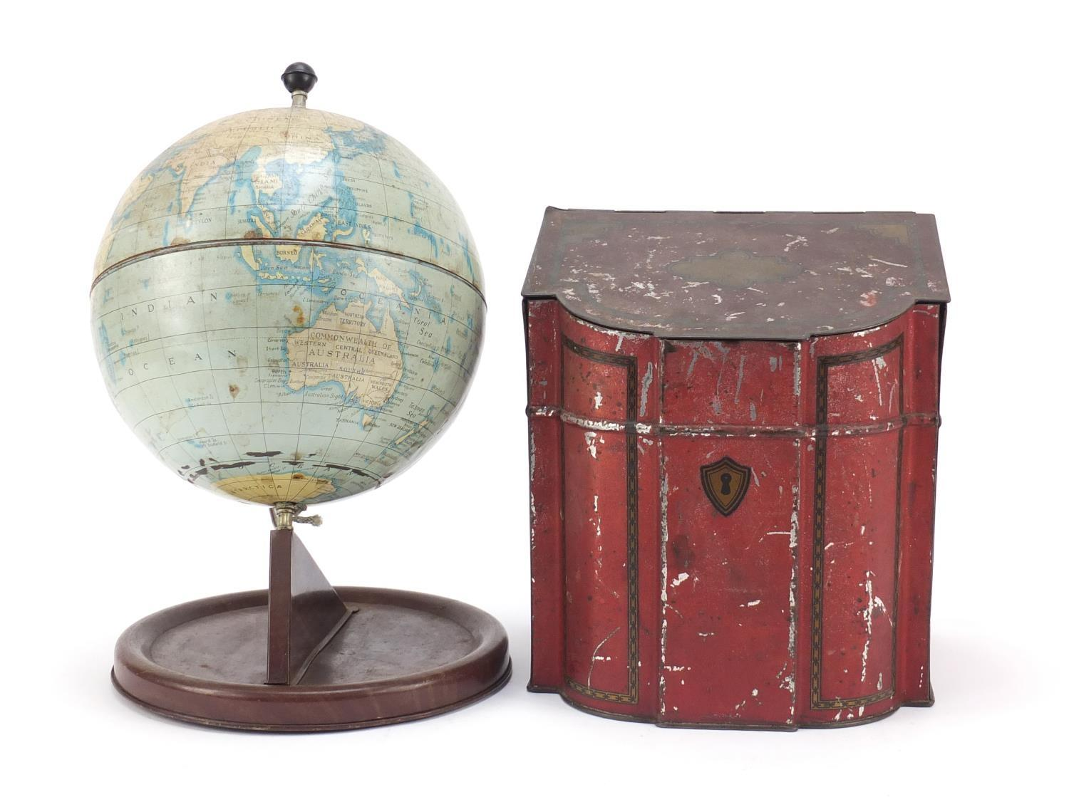 Vintage Chad Valley tin globe and Williams toffee tin in the form of a knife box, the largest 28cm - Image 3 of 10