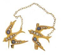 9ct gold swallow design brooch set with seed pearls and sapphires, 10.5cm in length, 2.2g : For