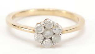 9ct gold diamond flower head ring, size Q, approximately 0.5 carat in total, 2.4g : For Further