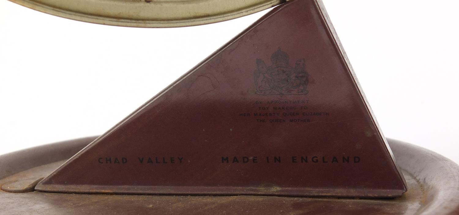 Vintage Chad Valley tin globe and Williams toffee tin in the form of a knife box, the largest 28cm - Image 2 of 10