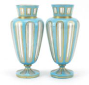 Pair of 19th century French blue opaline vases with gilt borders, 22cm high : For Further