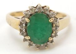 9ct gold, emerald and cubic zirconia ring, size L, 2.6g : For Further Condition Reports Please Visit