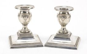 Fordham & Faulkner, pair of Edward VII silver dwarf candlesticks, Sheffield 1912, 8.5cm high, 346.0g