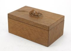 Robert Mouseman Thompson adzed oak box and cover carved with a signature mouse, 9.5cm H x 18.5cm W x