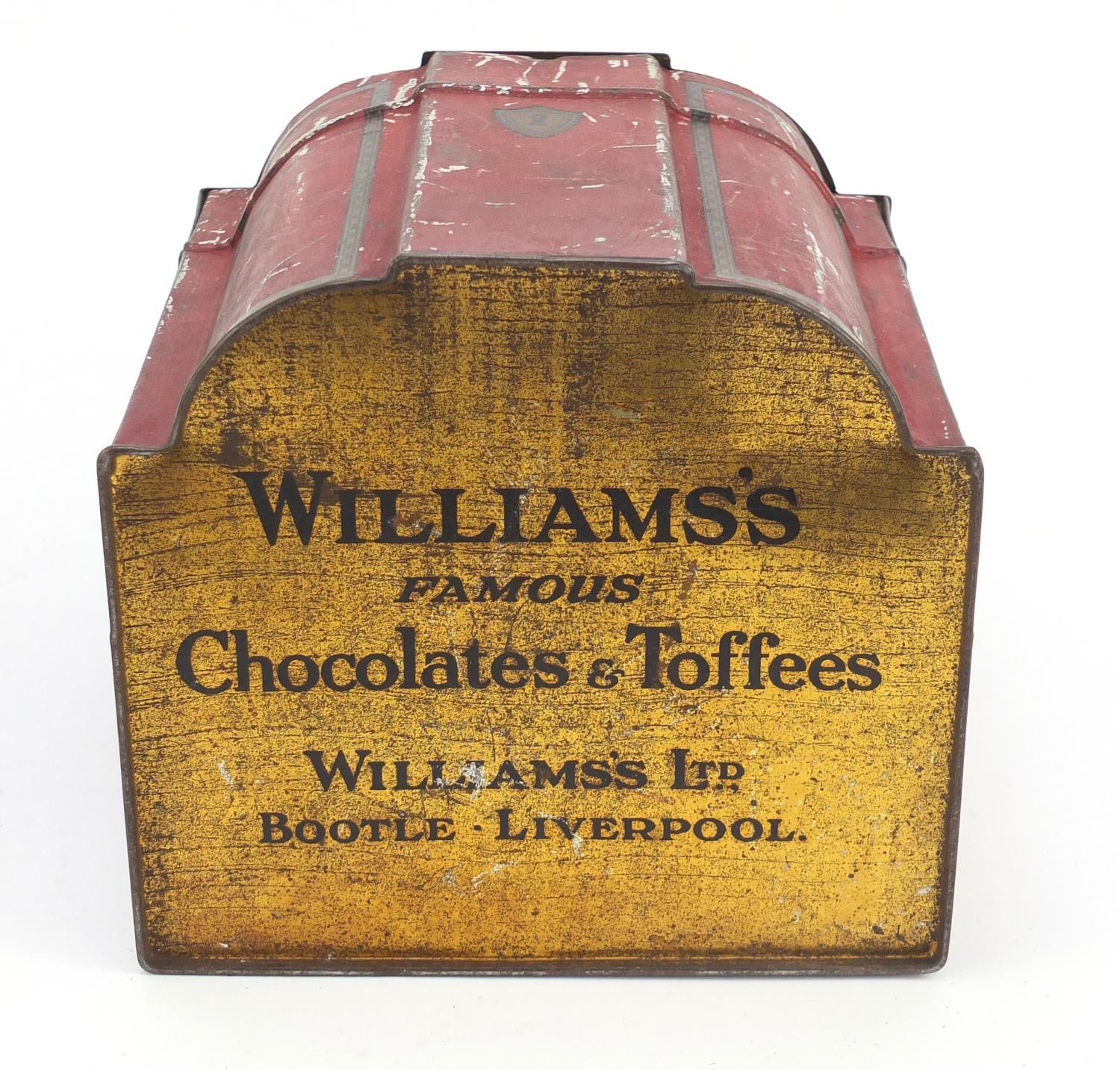 Vintage Chad Valley tin globe and Williams toffee tin in the form of a knife box, the largest 28cm - Image 9 of 10