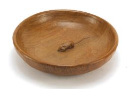 Robert Mouseman Thompson adzed oak fruit bowl carved with a signature mouse, 29cm in diameter :