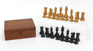 Boxwood and ebony Staunton chess set, possibly by Jacques, with mahogany box, the largest piece