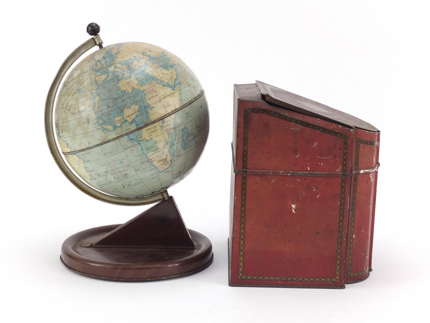 Vintage Chad Valley tin globe and Williams toffee tin in the form of a knife box, the largest 28cm - Image 7 of 10