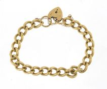 9ct gold bracelet with love heart padlock, 20cm in length, 38.0g : For Further Condition Reports