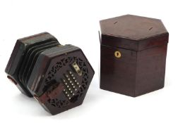 Victorian rosewood 49 button concertina with rosewood case : For Further Condition Reports Please